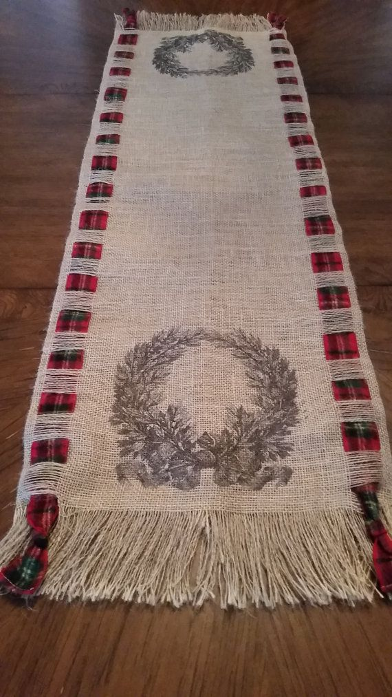 Rustic Burlap Lodge Christmas Runner.. by TheElegantClutter
