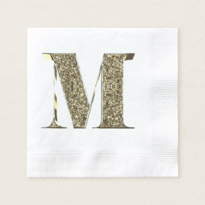 Monogrammed Letter Initial M Gold Sparkles Elegant Paper Napkin - party gifts gift ideas diy customize