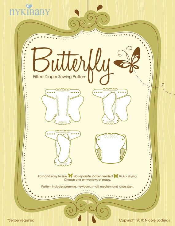 NykiBaby Butterfly Fitted Diaper PDF Pattern by UberDomestic, $7.75