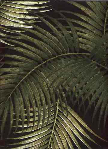 /\ /\ . Retro Palm Frond Barkcloth