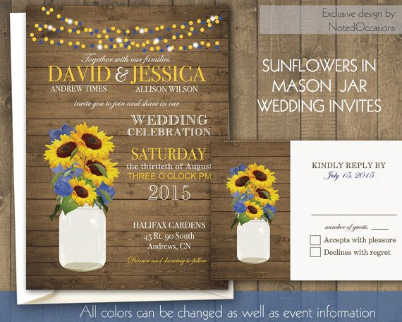 Mason Jar Sunflowers Wedding Invitations Rustic By Notedoccasions 45 00