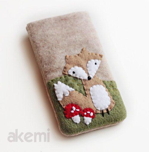 Cell Phone Case - iPhone 5 Cozy- Handmade iPhone Felt Cover- Custom Size Available- Foxy Shroom..