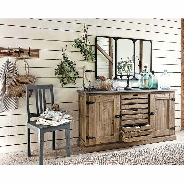 miroir indus en m tal noir effet vieilli h 72 cm titouan maisons du monde maison du monde. Black Bedroom Furniture Sets. Home Design Ideas