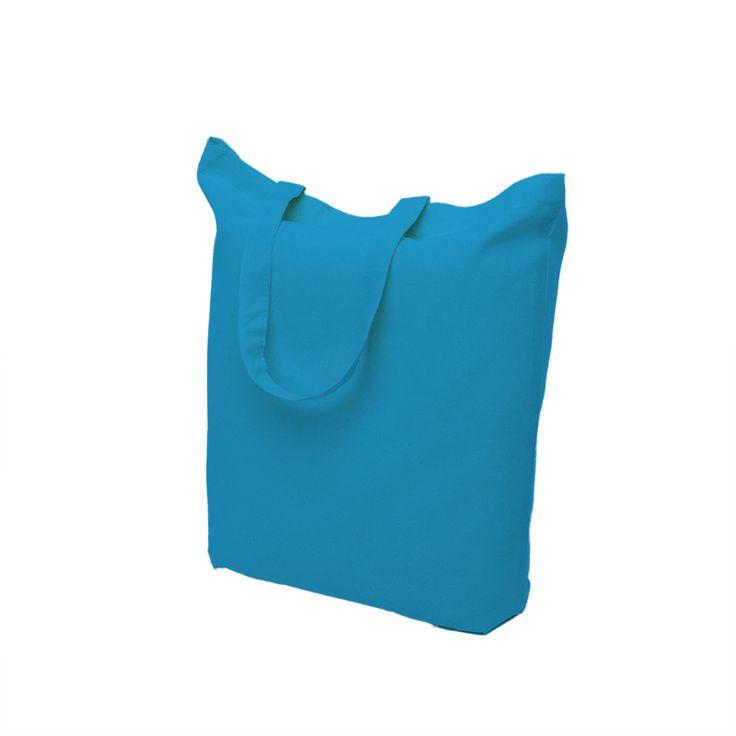 Light blue cotton bag with short handle