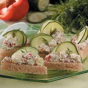 Cucumber Tea Sandwiches ~ My children wanted to plant a garden, and we ended up with buckets of cucumbers. When I tired of making pickles, I came up with these pretty, little sandwiches. We made 200 of them for a family gathering, and everyone wanted the recipe. —Kimberly Smith Brighton, Tennessee