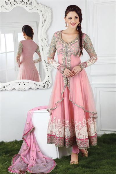 Sensational pink suit with kundan work (unstitched suit)