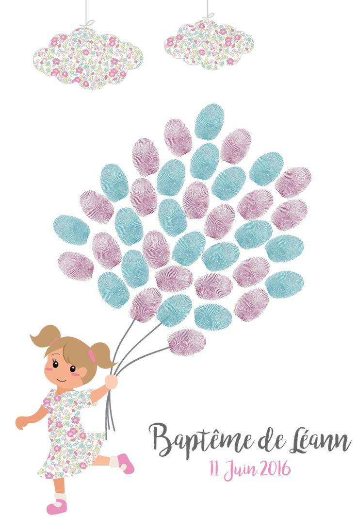 Arbre à empreintes baptême petite fille couettes liberty ballons, cadeau de bapteme original, arbre à signatures | Little Pop Studio