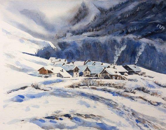 Aquarelle Paysage Des Alpes Peinture D Un Paysage De Montagne Alpes Neige Et Hiver Paysage Paysage Montagne Aquarelle