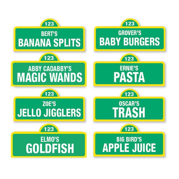 Sesame Street Printable Food Labels / 20 and by PartiPartieParty