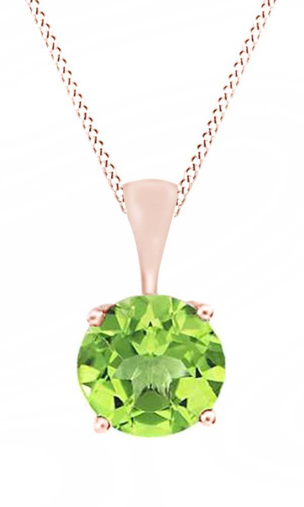 Round Cut Solitaire Peridot August Birthstone Pendant Necklace In 10K Rose Gold (5 Cttw). Adds A Touch Of Nature-Inspired Beauty To Your Look Round Cut Solitaire Pendant Necklace In 10K Rose Gold Makes a Standout Addition to Your Collection with 5 Carat August Birthstone Peridot. Gold is a dense, soft, shiny, malleable, and ductile metal, Gold is a synonym for wealth and money even though in the modern world it is neither. Perfect gift idea for Christmas, party, wedding, engagement...