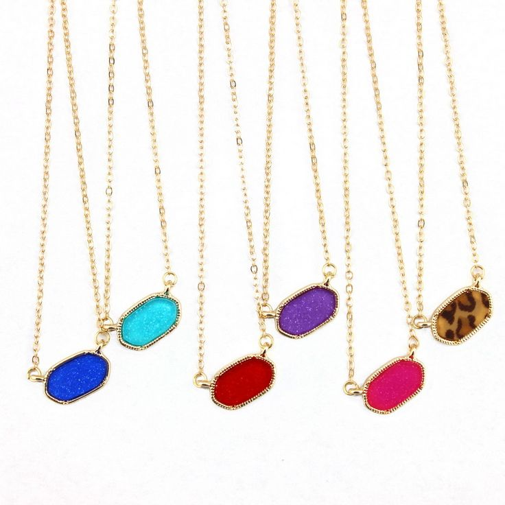 2016 Fashion Necklace for Women Famous Designer Jewelry Top Selling Brand Style Golden Frame Fluorescent Oval Pendant Necklace