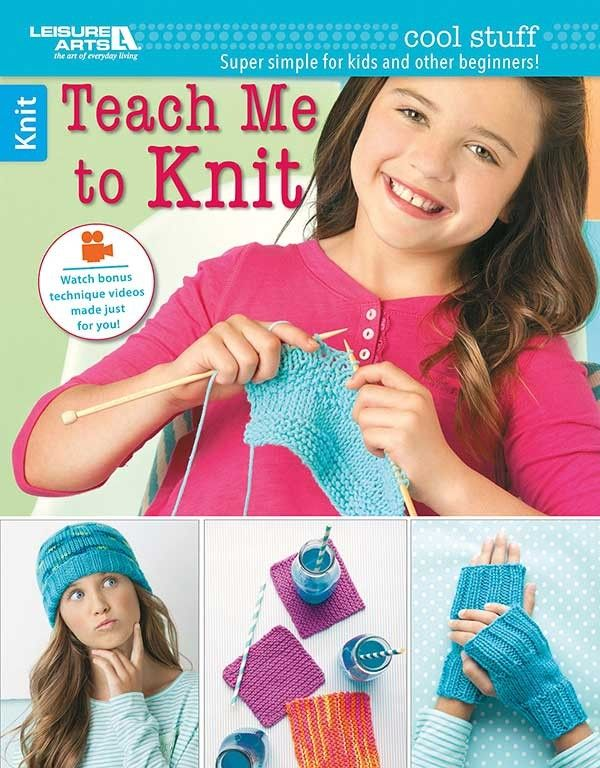 Cool Stuff Teach Me to Knit - Beginners of all ages will love the step-by-step photos and kid-friendly instructions in Cool Stuff Teach Me to Knit from Leisure Arts. This how-to-knit guide book has easy lessons and 13 fun projects: Knit Coaster, Purl Coaster, Open Petal Posy, Cotton Washcloth, Soft Drink Cozy, Dog's Toy Ball, Scarf, Ripple Lap Wrap, Pillow, Cat's Toy Fish, Leg Warmers, Hand Mitts, and Hat. The lessons call for medium weight yarn and size 8 (5 mm) knitting needles; some…