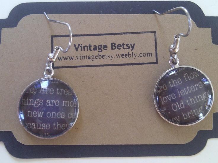 Sentimental Words; earrings by Vintage Betsy