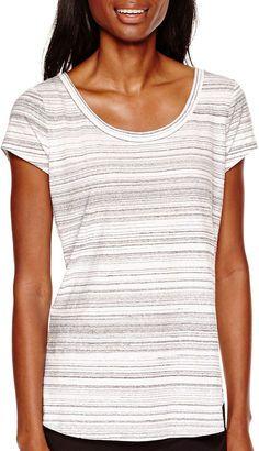LIZ CLAIBORNE Liz Claiborne Short-Sleeve Striped T-Shirt - Shop for women's T-shirt - White Multi T-shirt