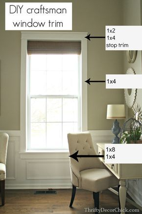 DIY Window Trim craftsmen style...note that the wainscot is not, crafts men.