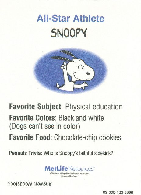 Peanuts MetLife All Star Cards - Snoopy