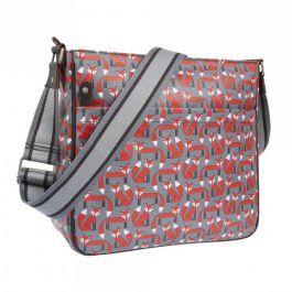 Handige tas met vosjes, te gebruiken als luiertas of als messenger bag.