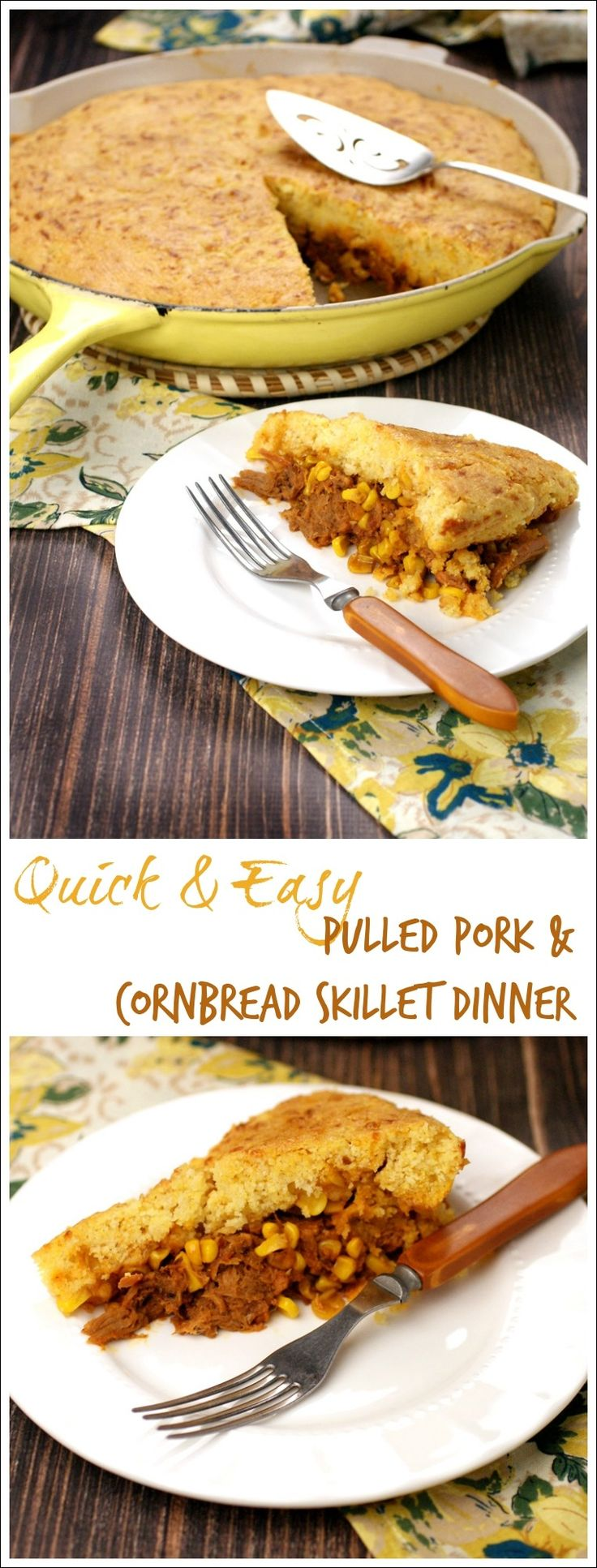 Looking for a one pot gluten free recipe? Get this Quick Easy Pulled Pork Cornbread Skillet Dinner at This Mama Cooks! On a Diet. This weeknight dinner takes less than 20 minutes to prep and 30 minutes to cook!