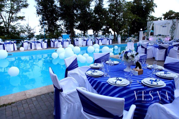 Оформление свадьбы в сине-белых цветах #color #wedding #weddingdeor #decoration #style #blu #withe