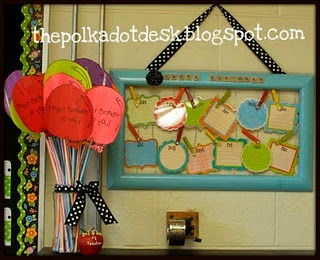 """Made as a """"birthday board"""" for a classroom, but I can see this as an IEP date board.  If you keep the glass on the frame, you can write on it in dry erase marker and reuse it year to year! I'm totally doing this!"""