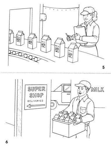el proceso de la leche para colorear