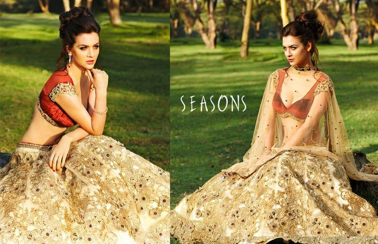 Gold. It's so beautiful I love there collection ♥  Hindu / indian bride Wear saree, lehenga, choli from seasonsindia. the model is Neha Dalvi or maria sokolovski