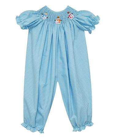 Blue Gingham Snowman Ruffle Smocked Playsuit - Infant #zulily #zulilyfinds