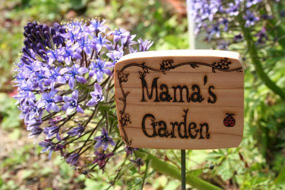 Cedar Garden Sign Mama S Garden Sign With Red Ladybug Cedar Garden Garden Signs Plant Markers