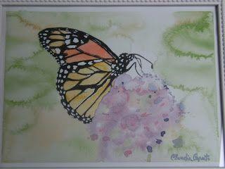 """Watercolors by Claudia: """"Farfalla monarca su fiore blu"""""""