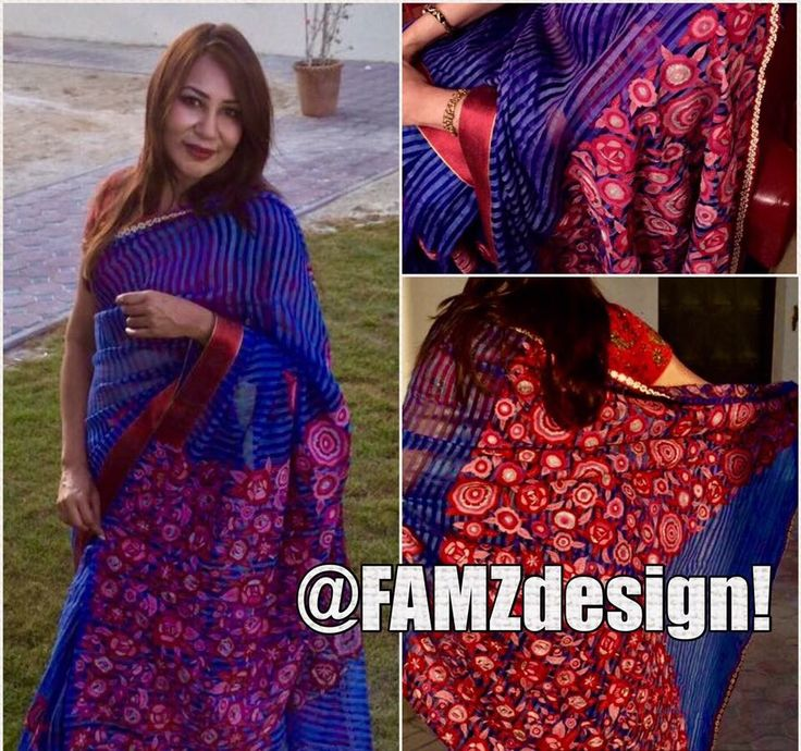 'Red flanked Blue tail '  Material- Blue  #Muslin  Red-pink-silver thread embroidery . Turkish pattern  design.   Available for order in custom colors  Inbox Message for Price request and order to famidesigndxb@ gmail.com. Check Facebook page Famzdesign for more # traditional # sarees # Desi saree # Bangladeshi saree# moslin # Muslin#saree#DesiSaree#moslin