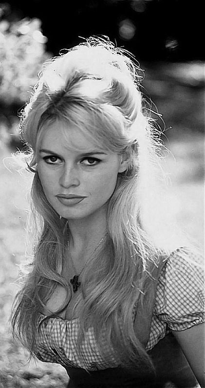 Bardot's air and makeup.