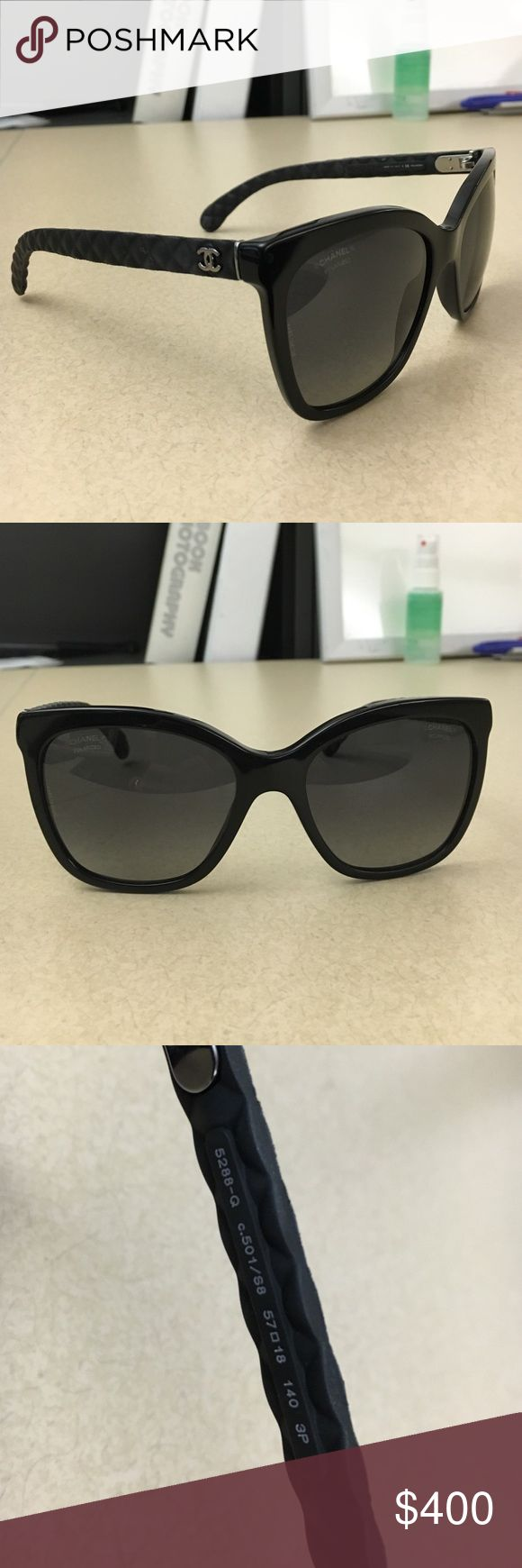 Black Chanel Sunglasses - Butterfly Quilt 5288 Black frame, polarized gray lenses. Butterfly quilting. Brand new. Material: Acetate, rubber, & goatskin Chanel Accessories Sunglasses
