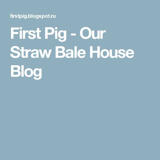 First Pig - Our Straw Bale House Blog