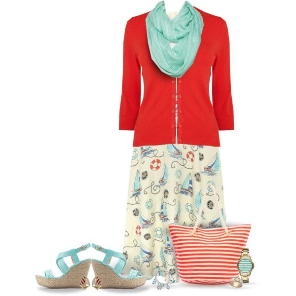 Nautical Tea Dress & Espadrilles by pwhiteaurora on Polyvore featuring M&Co, Phase Eight, Charlotte Russe, Oasis, Armani Exchange, Fornash, & Blu Bijoux ~ created 4-7-15