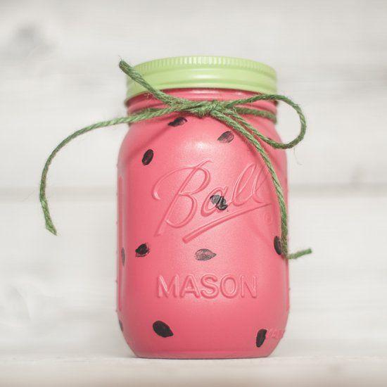 Cute watermelon mason jar for summer parties.