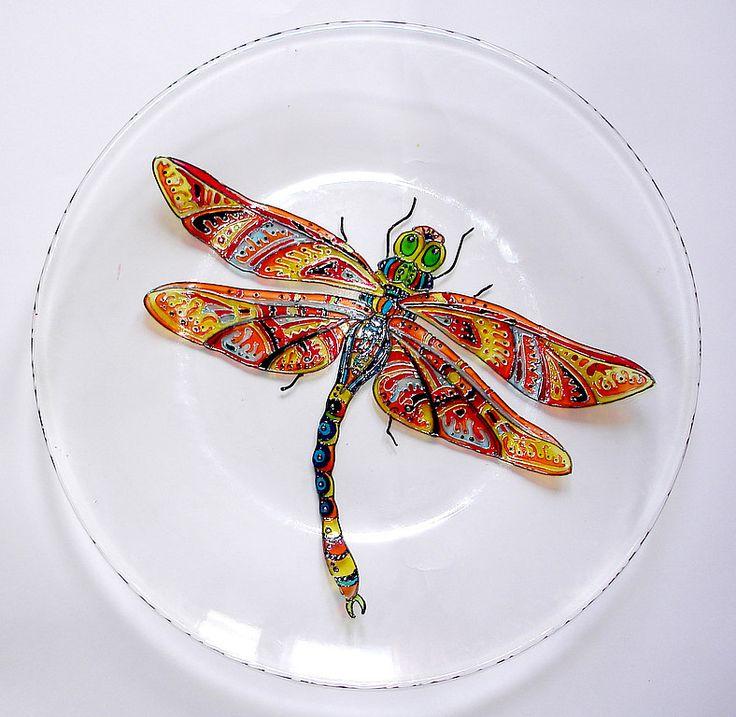 Декоративные тарелочки - оранжевый,стрекоза,бабочка,муха,Роспись по стеклу