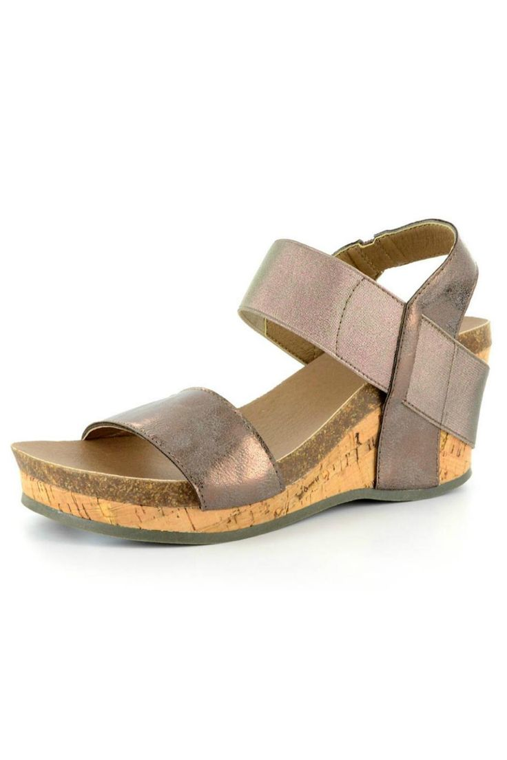 """Do you love the look of our Bronze Wedge but not love the height? Then this is the shoe for you! The lower heel means this wedge can transition easily from day to night. Pair it with a casual sundress or a sophisticated maxi dress then switch it up and wear with jeans!    Measures: 2.5"""" platform   Bronze Low Wedge  by Corkys. Shoes - Wedges Nashville, Tennessee"""