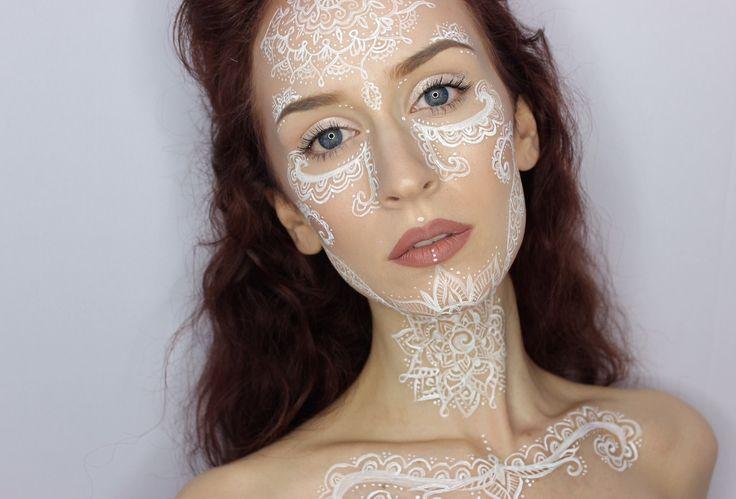 First attempt at henna/mandala inspired makeup! I got a little carried away... - Imgur