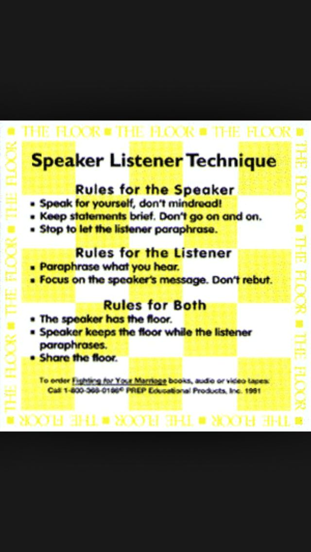 Speaker-listener technique | Communication | Pinterest