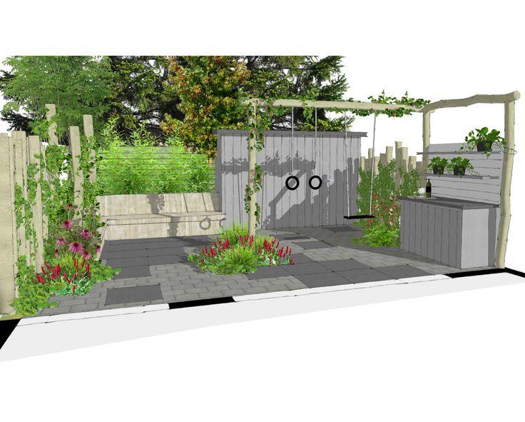 tuinontwerp kleine kindvriendelijke stadstuin met steigerhouten bank en tuinkast #SketchUp #steigerhout