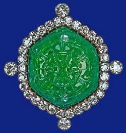 Queen Elizabeth's Ladies of India emerald and diamond brooch via bkg jewelry.
