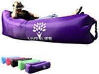 INFLATABLE LOUNGER AIR SOFA COUCH HAMMOCK DURABLE RIPSTOP NYLON WATERPROOF FLOATS INDOOR OUTDOOR CAMPING HIKING POOL BEACH PARK BACKYARD CARRYING BAG 2 POCKETS BOTTLE OPENER STAKE WITH LOOP WARRANTY!
