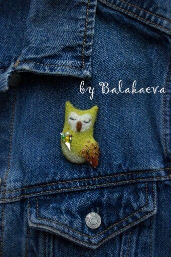 Сова, салатовый, салатовая сова, зеленая сова, войлочная брошь, owl, owls, green, dreen owl, wool owl