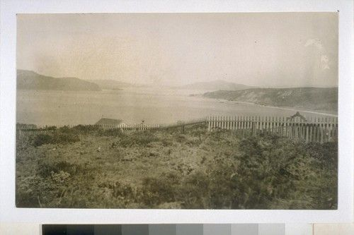 City cemetery overlooking Golden Gate. [Now site of Lincoln Golf Course and Palace of the Legion of Honor.] 1885