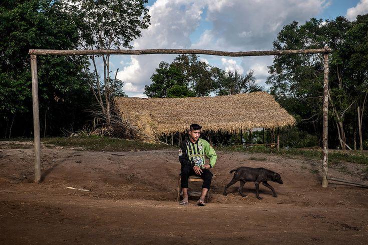 """Felipe Ferreira da Silva, 13ans, futur gardien. Équipe de foot """"Gavião FC"""", de la communauté indigène """"Aldeiahywi Gavião"""", une des 3 équipe de l'ethnie Sateré-Mawé, l'ethnie la plus titrée du """"Peladão"""". Le Peladão est le championnat indigène de football d'Amazonie, Il dure 3 mois, et réuni jusqu'à 1000 équipes. Manaus, Brésil. Juin 2014...©Dom Smaz"""