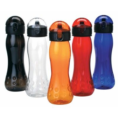 The Marathon Plastic Alloy Sports Bottle has a 700ml capacity and is BPA free. Featuring a translucent plastic alloy, self sealing spout and snap open dome cover. Supplied in polybag. Colours: Blue, Red, Orange, Clear, Black. Dimensions: 260mm H x 84mm D. Decoration: PAD - Pad Printed - Bottle: 30mm H x 35mm W PAD. (D274_IMAGE)