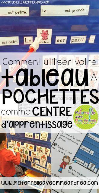 Centres d'apprentissage | Tableau à pochettes | Maternelle | Phrases prévisibles