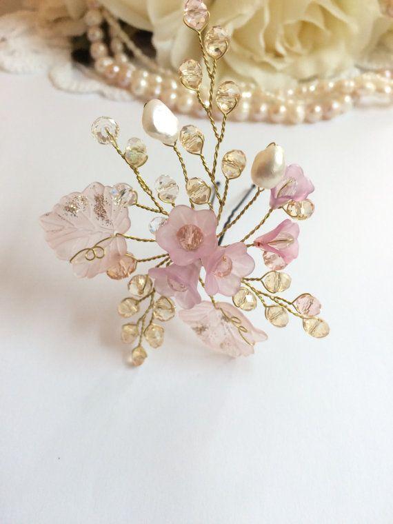 Bridal headpiece wedding headpiece pearl headpiece pink