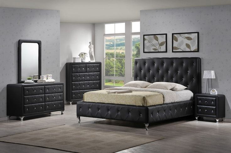 Modern Tufted Black Bedroom Set Black Bedroom Furniture