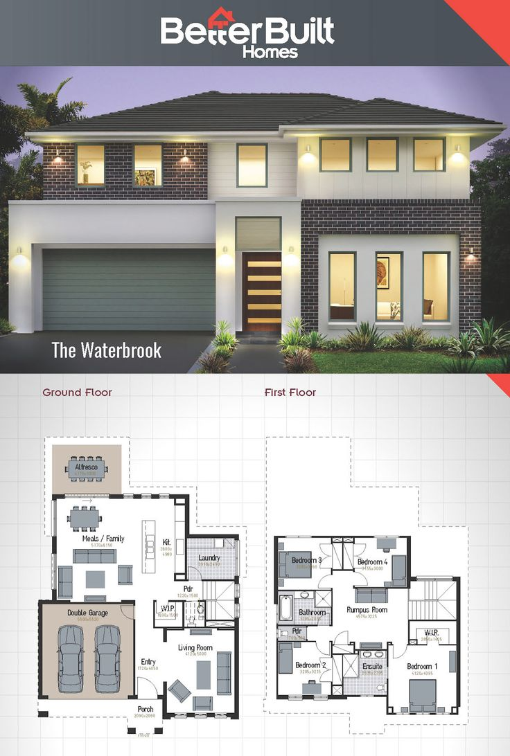 House design first floor - The Waterbrook Double Storey House Design 265 Sq M 12 09m X 17 44
